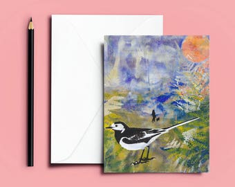 Pied Wagtail Card, Blue Bird Card, Birthday Card Bird Lover, Bird Card, Wagtail Card, Mother's Day Card, Father's Day Card