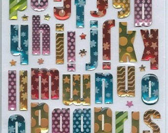 Stickers 3d embossed Sticko Alphabet ABC letters scrapbooking