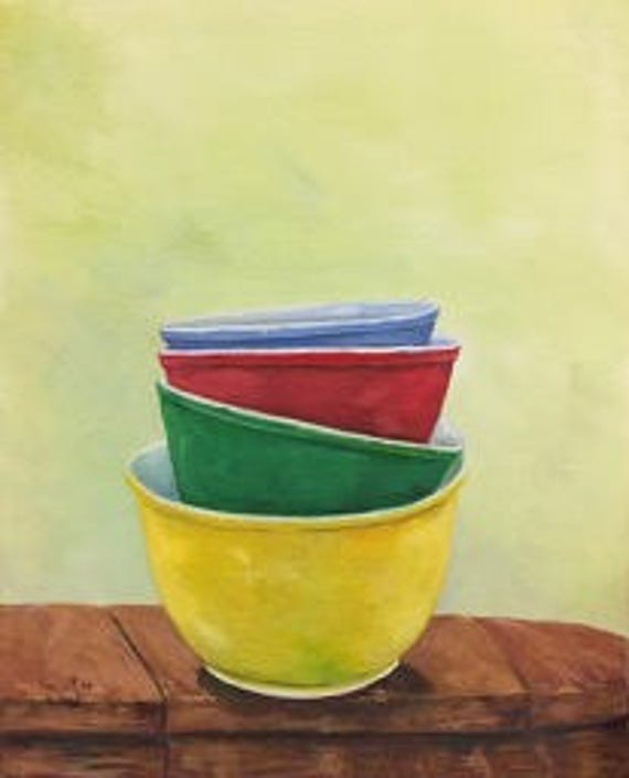 Vintage Colorful Mixing Bowls Original Painting | Pyrex Mixing Bowl Painting