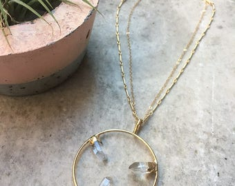 LINZ - Crystal Quartz Gold Circle Pendant Necklace   Fine Jewelry   Long Crystal Necklace   Statement Necklace   Multistrand Necklace