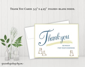 Baby Shower Thank You Notes, Thank You Cards, Children's Thank You Cards, Birthday Thank You, Stationery Cards, Digital, Printable TY613