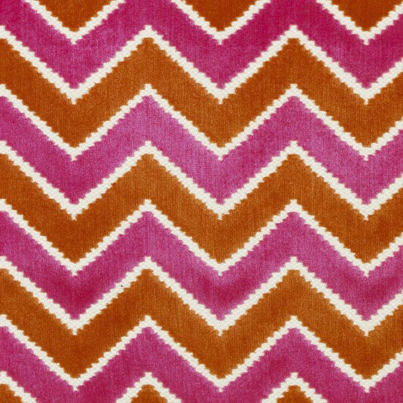 Cut Velvet Upholstery Fabric Pink Orange Velvet Chevron