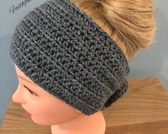Traditional gray ear warmers... teen headband.. adukt ear warmers.. ready to ship