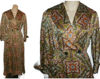 Vintage 1950s Satin Housedress Housecoat Robe Hostess Gown Green Brown Geometric Pattern German Rockabilly Boho L chest to 42 in