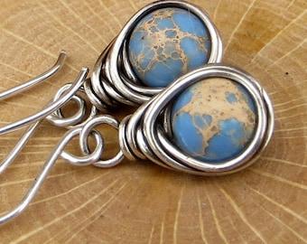 Ocean Jasper Earrings Wire Wrapped Earrings Eco Friendly Jewelry Gifts for Her