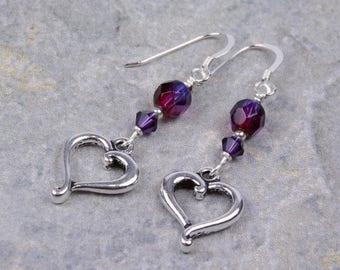Silver Heart Amethyst Purple Swarovski Crystal Earrings
