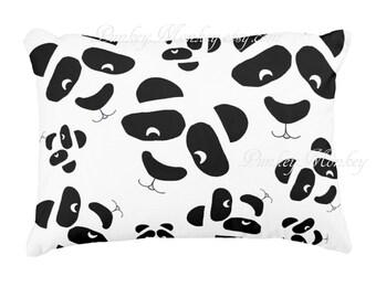 Ours panda panda visages lancer coussin visage de panda noir et blanc coussin personnalisé réalisé sur commande ours enfants coussin animaux de zoo ados adultes