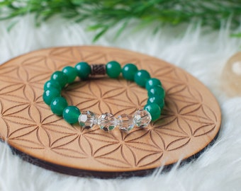Faceted Czech Glass beaded bracelet in Emerald and Clear