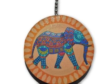 Tribal Elephant Round Wood Fan / Light Pull