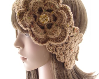 Made to Order Crochet Headwarmer with Irish Rose in Earth Tones