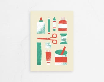 Greeting card with art supplies