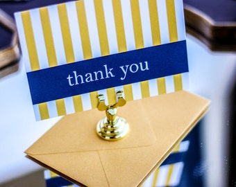 "Gold and Navy Thank You Card, Preppy Stationery, Striped Notecard, Nautical Wedding Thank You - ""Preppy Chic"" Flat Thank You Cards - DEPOSIT"