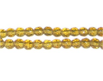 "6mm Gold Faceted Round Glass Bead, 13"" string"