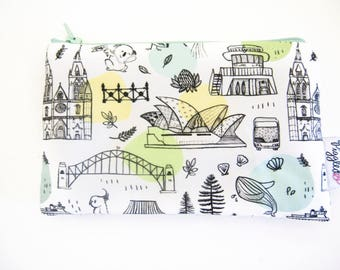 Mini Wet Bag / Coin Purse / Makeup Bag with Waterproof Lining - Australian Animals and Sydney