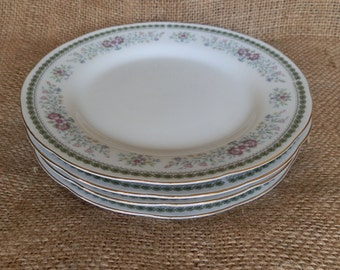 Set of Four Vintage Green and Pink Floral Side Plates / Bread and Butter Plates with Gilt Edging