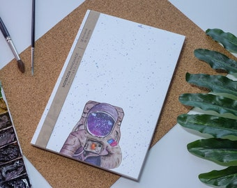Galaxy aquarelle carnet de notes à la main, couverture rigide journal, Illustration, carnet, carnet de croquis, journal intime, cadeau, 21 × 14.8