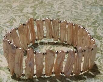 Pink Baroque Pearl Sterling Silver Bracelet