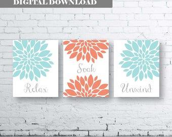 Bathroom Print Art-Relax Soak Unwind- Coral Gray Aqua Art- Coral Grey Aqua Flower Bathroom. Coral and Gray Floral Wall Art. Coral and Aqua.