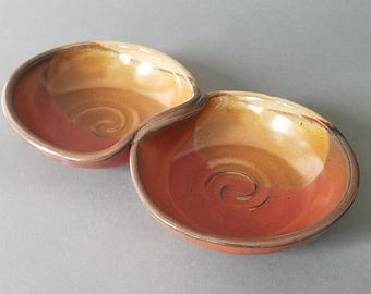 Double Bowl Serving Dish Tray in Sunset Reds Orange Golden Yellows