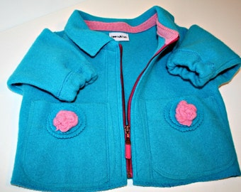 ON SALE Repurposed Felted Turquoise Wool Kid's Jacket and Bomber Hat