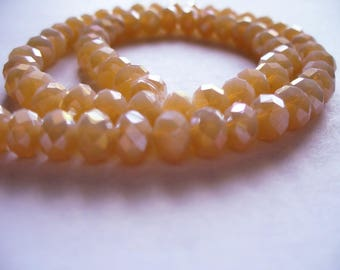 Crystal Beads Faceted Opaque Tan AB Rondelles 6x4mm
