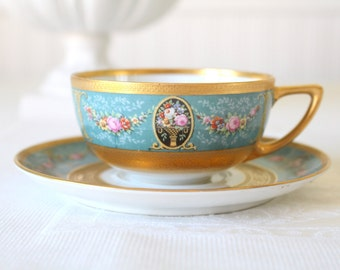 Vintage Handpainted Black Knight Hutschenreuther Fine Porcelain China Heavy Gold Gilt Tea Cup & Saucer - c. 1939 - 1945