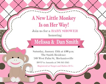 Sock Monkey, Monkey, Girl, Pink, Baby Shower Invitation - Printable or Printed with FREE SHIPPING