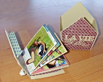 Personalized Mini photo Album handmade in box shaped lodge