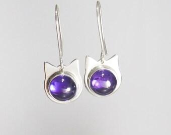 Earrings, Cat Face, Cat Face Earrings, Amethyst Earrings