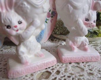 Vintage Napcoware Easter Bunny Figurines-Candle Stick Holders-PINK