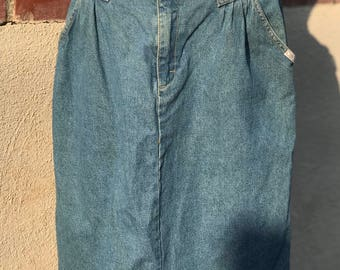 Vintage 1980's Denim Pencil Skirt, With Belt, Size 14