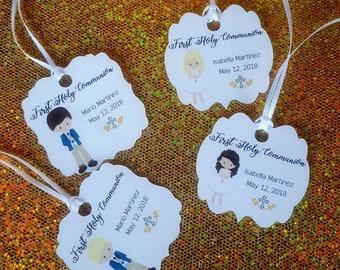 first communion favor tags/girls communion/boy communion/holy communion/ tags/personalize tags/virgen de guadalupe tags