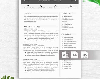 Modern Resume Template, Professional Resume Template for Word, 1 and 2 Page Resume Template, Cover Letter, Instant Download, CV Template