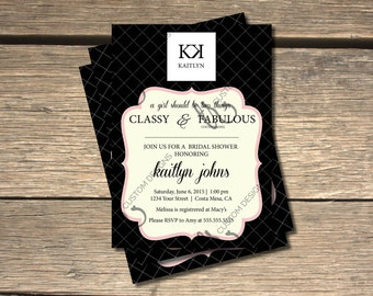 Chanel bridal shower etsy coco chanel inspired bridal shower invitation 5x7 filmwisefo