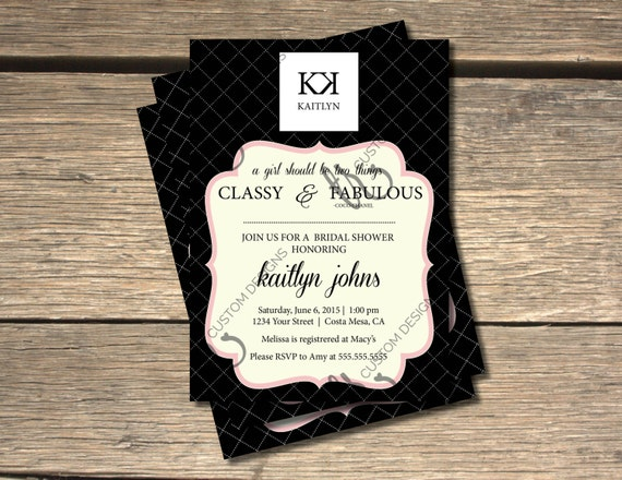 Coco chanel inspired bridal shower invitation 5x7 filmwisefo