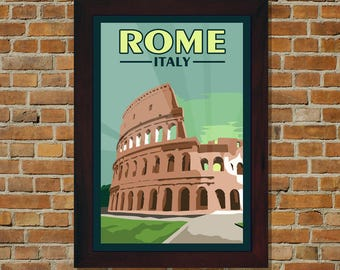 Rome Italy - Vintage Travel Poster