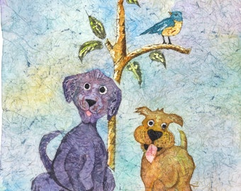 Watercolor Dogs,Dog Art,Dog Painting,Watercolor Dog,Folk Art,Watercolor Batik,Batik Art, Batik Watercolor,