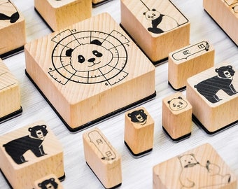 Three Little Bears Stamp Set, Wooden Rubber Bear Stamps, Polar Bear, Panda, Black Bear, Animal Stamp for Journaling