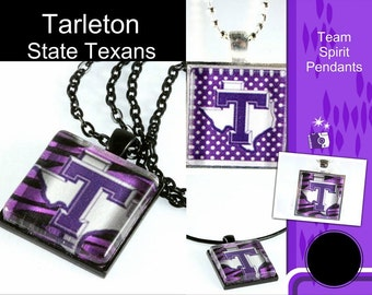 Tarleton Glass Tile Pendant, Tarleton Logo, Square Pendant, School Jewelry, Team Jewelry, Your School