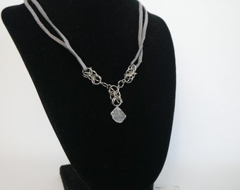 Chain mail and Moonstone Necklace and Earring set