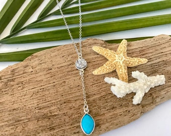New! // Druzy Turquoise Lariat Necklace