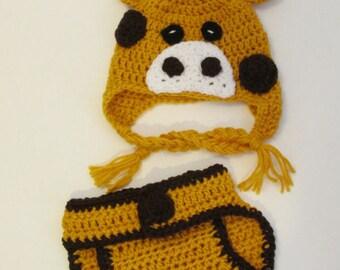 Crochet Giraffe Hat, Animal Hat, Giraffe Hat, Diaper Cover Set, Newborn Photo Prop