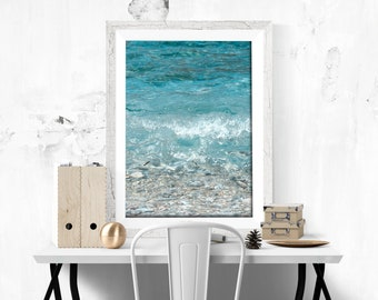 Blue Sea Print Photography Wave Print Sea Photography Digital Print Summer Decor Blue decor Sea lovers gift