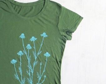 Womens Graphic Short Sleeve TShirt - Bamboo Organic Cotton Tee - Womens T Shirt - Green Tee Shirt - Screen Printed Chamomile T Shirt