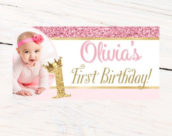 First Birthday Princess Banner ~ Personalized Party Banners - Photo First Birthday Banner - Custom Banner - Birthday Princess Banner