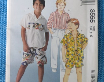 Vintage Sewing Pattern - McCalls 3555 Size 4 Children's or Boys' Shirt, Pants and Shorts - 1988 Pattern