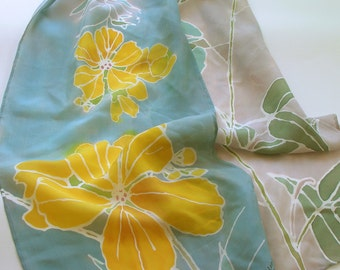 Serti Painted Silk Scarf with Two-leaved Senna
