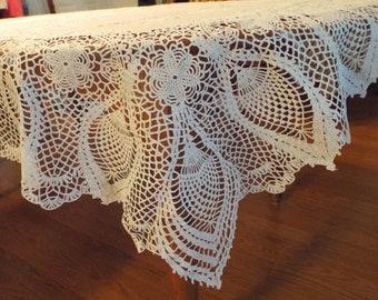 Vintage 1960s Vinyl Lace Tablecloth White Vintage Shabby Cottage Chic Home Decor
