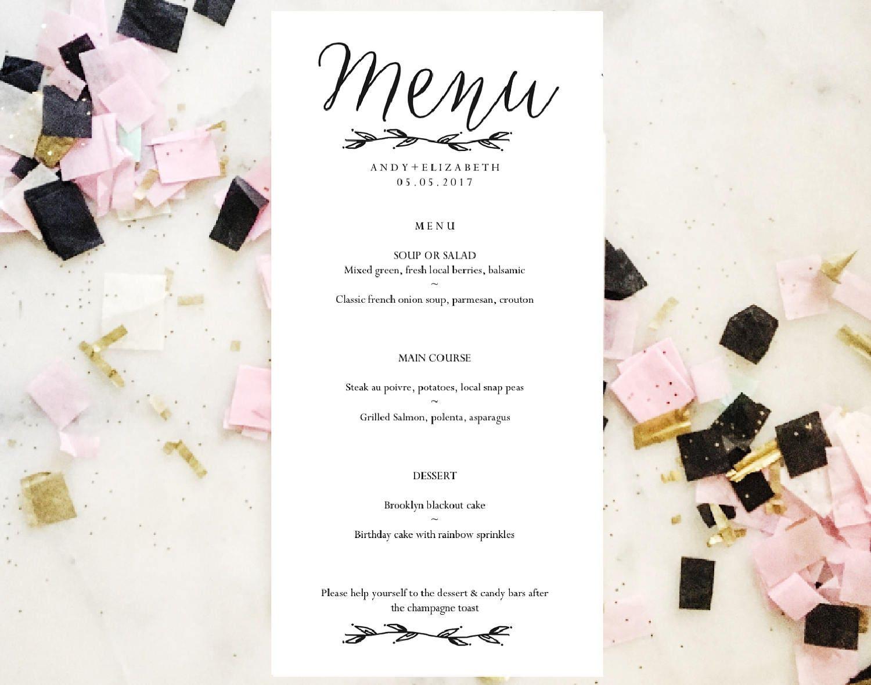Printable Menu Template Wedding Menu Template Instant