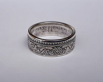 Ring coin 1 Rupee from India Silver (coin ring)